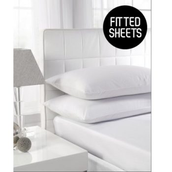 180 TC Extra Deep Percale Double Fitted Sheets (Up To 16'')