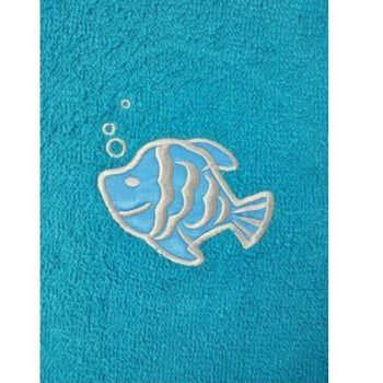 Fish Embroidered Aqua Mint Bath Towels – Value Range