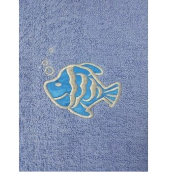 Fish Embroidered Light Blue Bath Sheets – Value Range