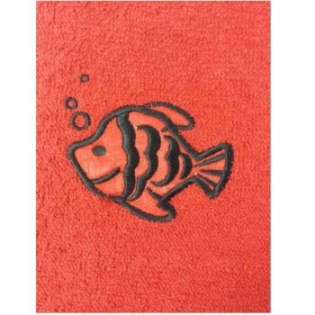 Fish Embroidered Red Bath Towels – Value Range