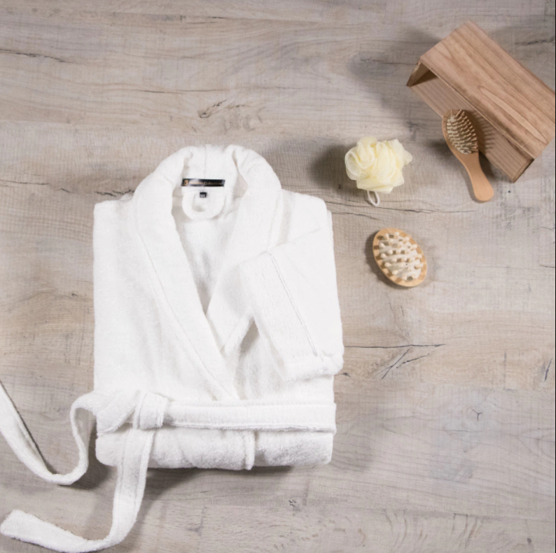 Ultimate Bamboo Collection White Towelling Dressing Gown LA Towels