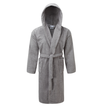 Mens Hooded Dressing Gown White & Egyptian Cotton - LA Towels